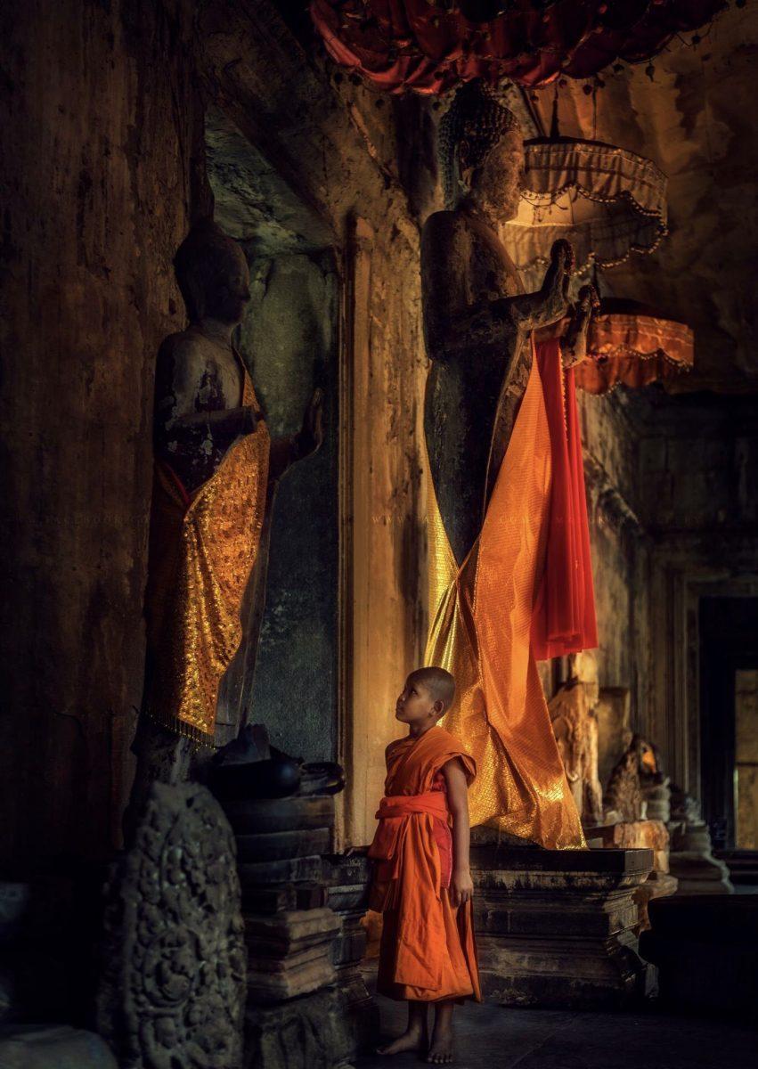 Monk boy at Angkor Wat