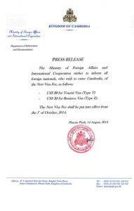 New Cambodia Visa Fee
